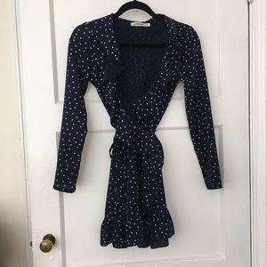 Star print navy blue Ruffle realisation par dress